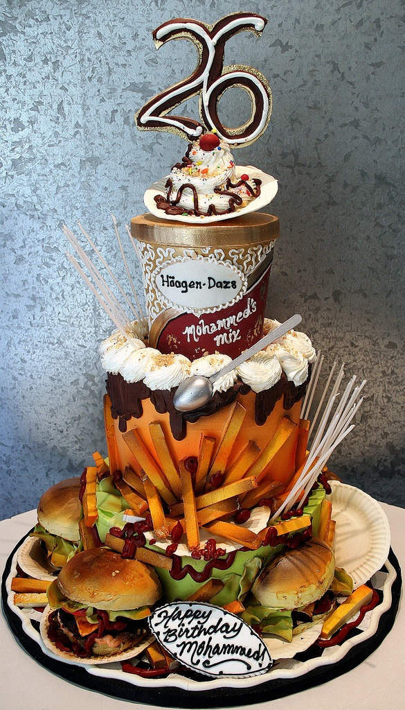 Ice cream topped junk food cake