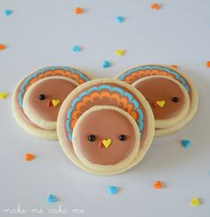 Thanksgiving Turkey Cookies With Circle Cutter