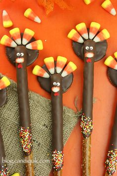 Candy Corn And Pretzel Stick Thanksgiving Turkeys